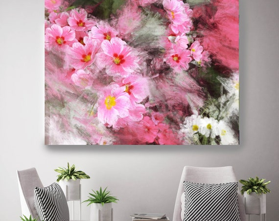 "A beauteous garden. Floral Painting, Pink White Abstract Art, Large Abstract Colorful Contemporary Canvas Art Print up to 72"" by Irena Orlov"