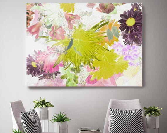 "Island Escape 2. Floral Painting, Pink Green Abstract Art, Large Abstract Colorful Contemporary Canvas Art Print up to 72"" by Irena Orlov"