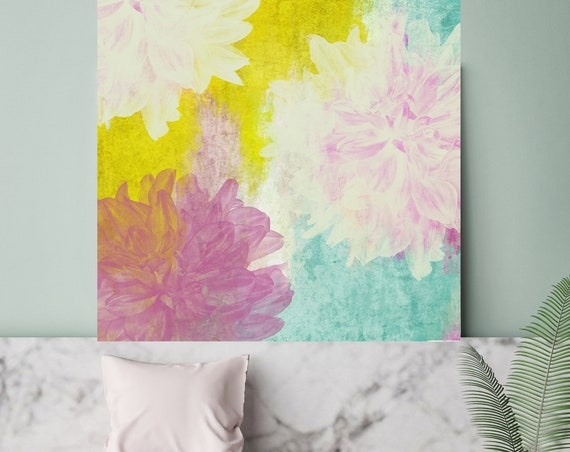 "Pastel Dreams II. Rustic Blur Floral Painting, Green Turquoise Pink Lavender Rustic Large Floral Canvas Art Print up to 48"" by Irena Orlov"