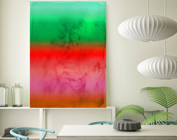 Abstract Minimalist Rothko Inspired 1-34. Abstract Painting Giclee of Original Wall Art, Red Green Large Canvas Art Print up to 72""