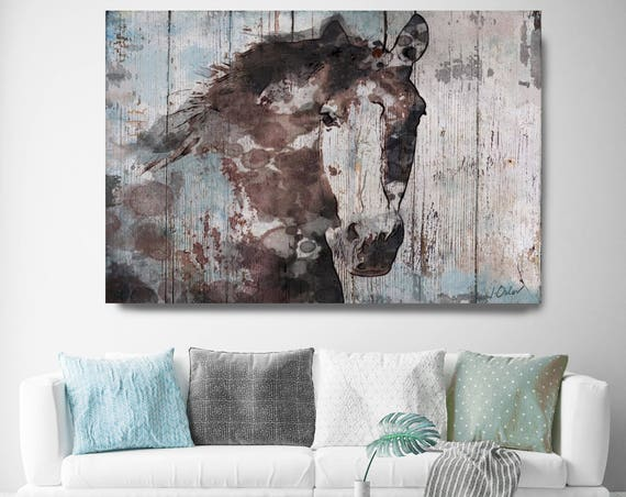"Wild Blue Horse. Extra Large Horse, Unique Horse Wall Decor, Brown Rustic Horse, Large Rustic Canvas Art Print up to 72"" by Irena Orlov"