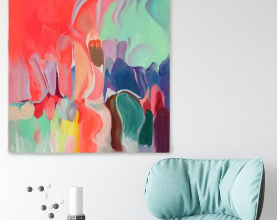 """Melodies 2, Red Aqua Yellow Abstract Painting, Pink Aqua Blue Blur Canvas Art Print up to 48"""" by Irena Orlov"""