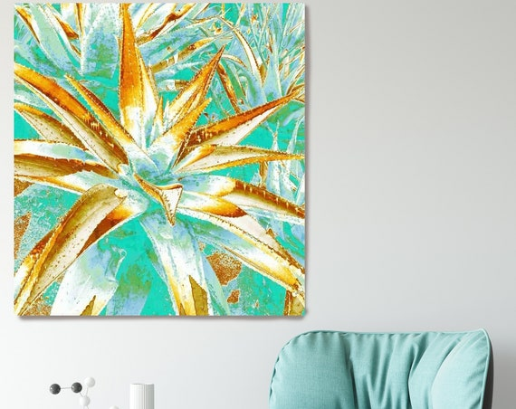 Cactus. Succulent print -Colorful teal succulent - Succulent photography - Gold Teal - Succulent prints - Botany wall art - Canvas Art print