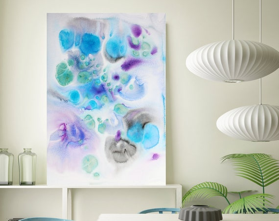 """Coastal Watercolor Abstract 105. Watercolor Abstract Blue Purple Canvas Art Print, Watercolor Painting up to 72"""" by Irena Orlov"""