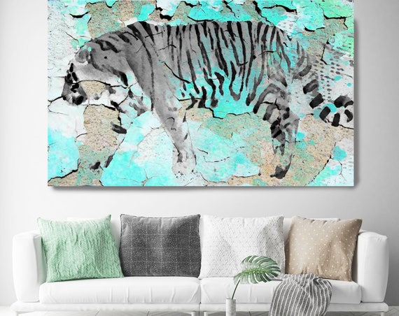 """Siberian Tiger III. Extra Large White Blue Rustic Tiger Wall Canvas Art Print up to 72"""" by Irena Orlov, Tiger Wall Art Decor"""