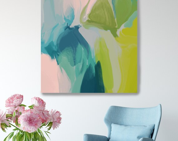 Large Colorful Abstract, Calm Spring Colors, Blue Green Pink Painting, Abstract Art Canvas Print, Contemporary Art up to 50""