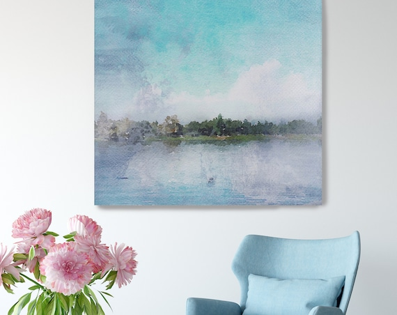 "Sunrise in Lake. Lake Art, Seascape, Beach Rustic Canvas Art Print, Blue Water  Extra Large up to 48"" Canvas Art Print by Irena Orlov"