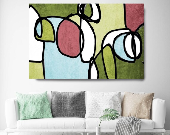 "Vibrant Colorful Abstract-0-2. Midcentury Modern Green Pink Canvas Art Print, Mid Century Modern Canvas Art Print up to 72"" by Irena Orlov"