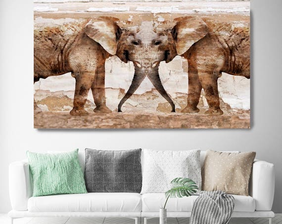 "Elephants, Brown Rustic Elephant Canvas Art Print, Rustic Elephant Canvas, Extra Large Elephant Canvas Art Print up to 72"" by Irena Orlov"