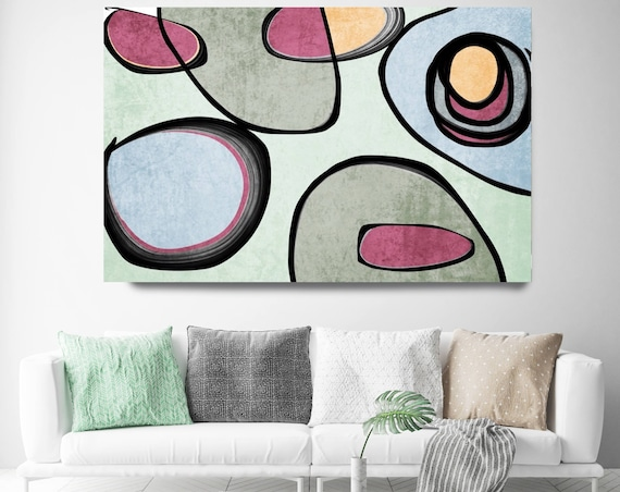 "Vibrant Colorful Abstract-0-39. Mid-Century Modern Green Pink Canvas Art Print, Mid Century Modern Canvas Art Print up to 72"" by Irena Orlov"