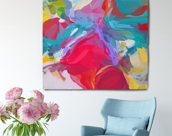 """Chain of Reality. Blue Red Abstract Art, Wall Decor, Large Abstract Pink Blue Contemporary Canvas Art Print up to 50"""" by Irena Orlov"""
