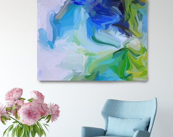 Ultramarine and Green Sea, Green Blue Abstract Painting, Abstract Painting, Contemporary Art, Hand Painted extra large canvas print