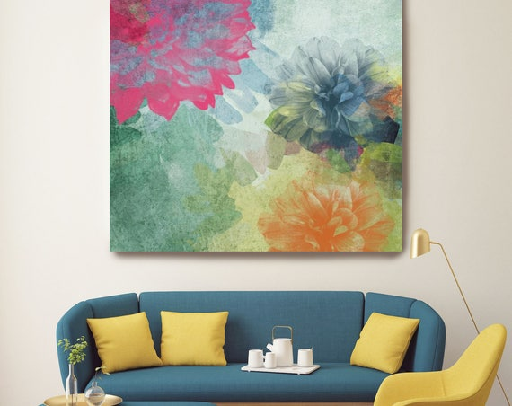 "Keep it Smile. Floral Painting, Red Green Orange Abstract Art, Abstract Floral Canvas Art Print up to 48"" by Irena Orlov"