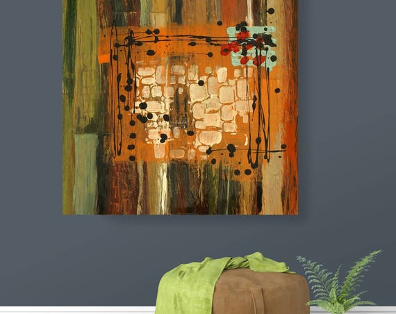 """The Source II. Geometrical Abstract Art, Wall Decor, Extra Large Abstract Green Contemporary Canvas Art Print up to 48"""" by Irena Orlov"""