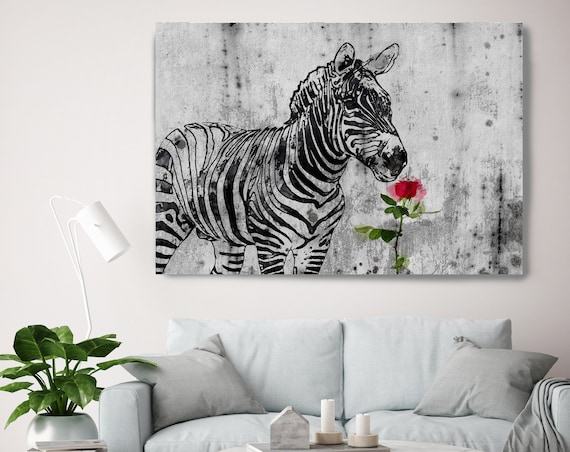 "Zebra and rose Canvas Art Large Canvas, Zebra and rose Canvas Art Print, Zebra and rose  Wall Art Print up to 81"" by Irena Orlov"