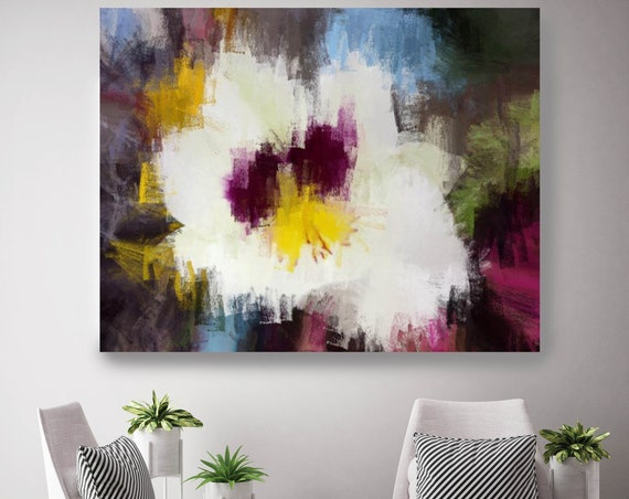 "White orchid. Floral Painting, White Yellow Purple Abstract Art, Abstract Colorful Contemporary Canvas Art Print up to 72"" by Irena Orlov"