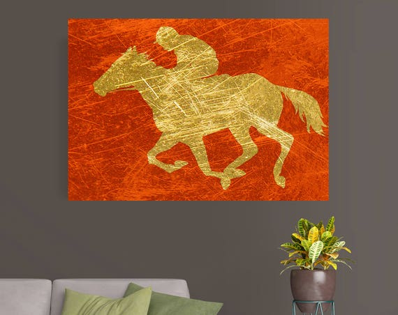 "Jockey. Extra Large Gold Red Horse Canvas Art Print, Red Gold Rustic Horse, Large Contemporary Canvas Art Print up to 72"" by Irena Orlov"