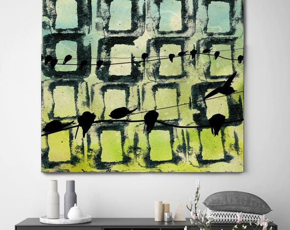 "Colorful Windows. Birds On Wire Green Blue Black Abstract Canvas Art Print up to 48"" by Irena Orlov"