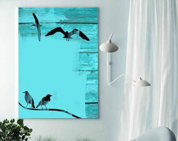 Birds in sky. Blue Rustic Canvas Art Print by Irena Orlov