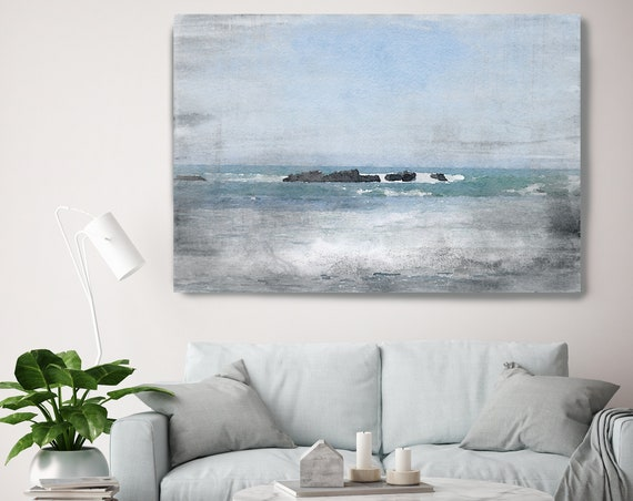 "Foggy Ocean 1, Beach Decor, Coastal Wall Canvas Art, Blue Black & White, Sea Canvas Print 80"" by Irena Orlov"
