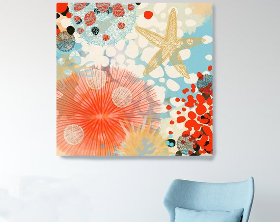 Coastal Canvas Print, Beach House Art, Coastal Art, Coastal Decor, Coastal Wall Art, Beach House Art, Starfish Art, Nautical Wall Decor