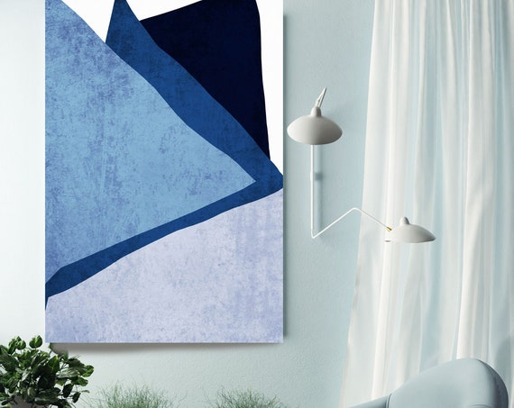 Blue Modern Scandinavian 2. Modern Gray Pink Canvas Art Print Scandinavian print Minimalist abstract Wall decor Blue Gray Minimalist Art