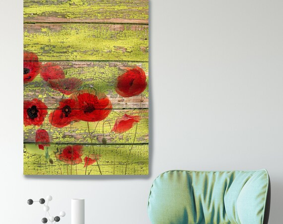 Red Dots on green I. Red Poppy Painting, Red Green Poppies Art, Red Poppies on Green Wood Planks Canvas Art Print, Poppy Art
