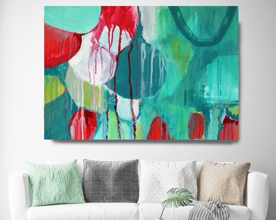 "Sensation. Green Abstract Art, Wall Decor, Extra Large Abstract Colorful Contemporary Canvas Art Print up to 72"" by Irena Orlov"
