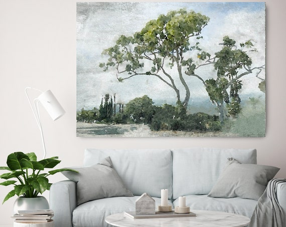 Santa Barbara Nature, Green Forest Landscape watercolor Painting Canvas Print Landscape Art, Landscape Painting Print Fine Art Scene
