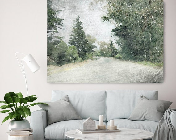 Green Forest Landscape watercolor Painting Canvas Print Landscape Art, Landscape Painting Print Fine Art Scene