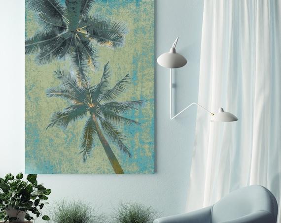 Blue Beach Palms 2. Palm wall art Palm decor Palm canvas art Print Palm trees wall art Palm canvas, California, home decor, beach, Palms