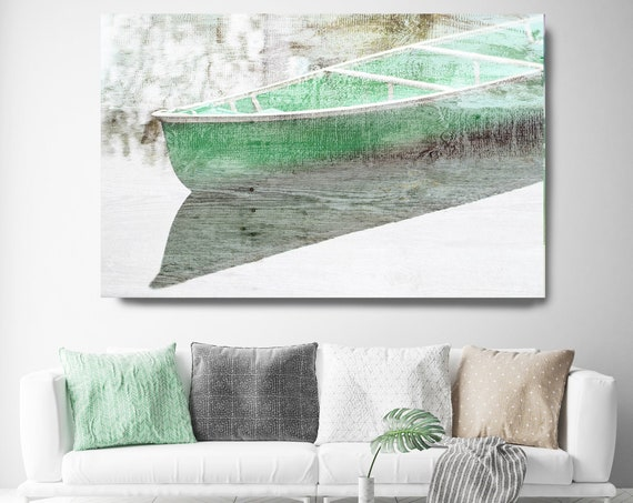 Green fishing boats, Rustic Boat Art Beach Decor Coastal Wall Canvas Art Print, Fishing Boat, Seascape Art, nautical, Boat wall art