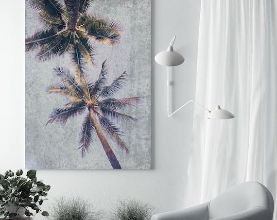 Palm Tree Art, Tropical Palm Print, Tropical Wall Art, Palm Tree Wall Art, Palm Trees Canvas Art Print Beachscape Brown Palms
