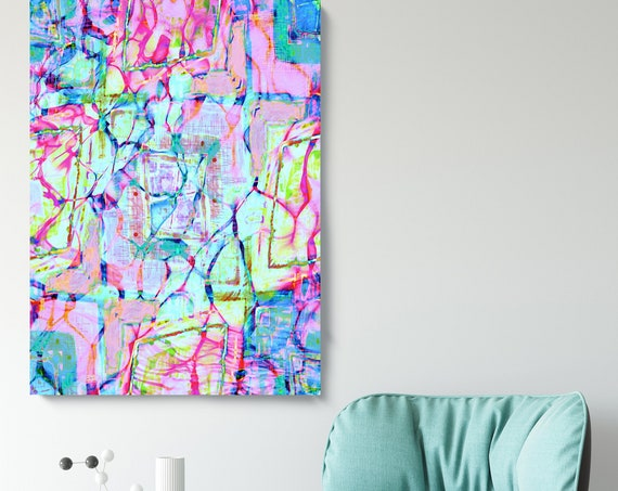 Tropical Colorful Abstract Water Painting, Coastal Canvas Wall Art Print, Modern, Pink Green Teal Turquoise Home Decor