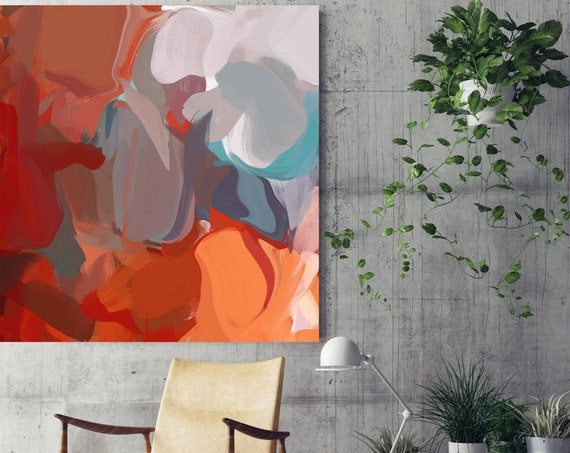 "Morning dance. Abstract Paintings Art, Wall Decor, Extra Large Abstract Red Gray Canvas Art Print up to 48"" by Irena Orlov"