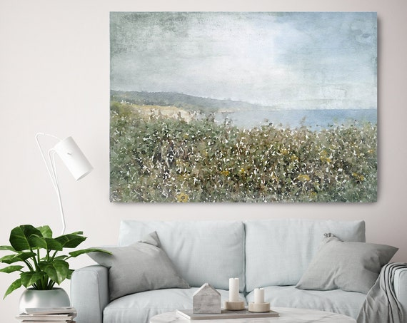 Green Field watercolor Seascape Painting Canvas Print Landscape Art, Landscape Painting Print Fine Art Scene
