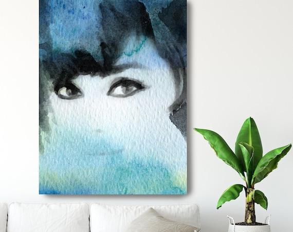 Lady In Blue Cloud, Figurative painting, Woman painting print, Sensual woman print, Modern wall art, Blue Portrait