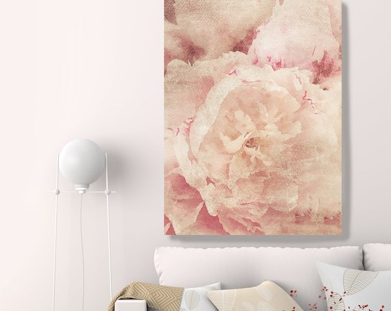 Beige Floral painting, Shabby Chick Art, Floral Art, Floral Wall Art, Rustic Flowers Canvas Print, Pretty Farmhouse Wall Art