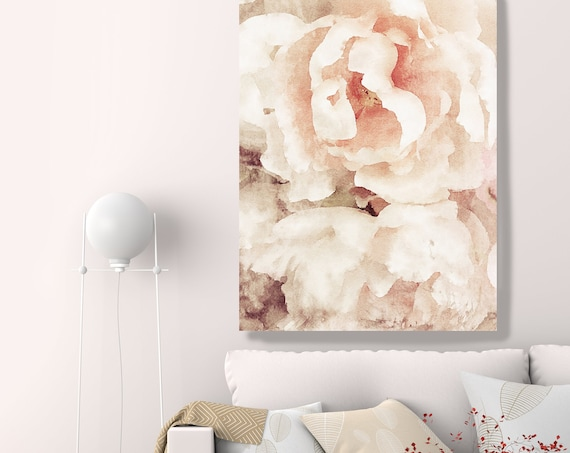 Beige Red Floral painting, Shabby Chick Art, Floral Art, Floral Wall Art, Rustic Flowers Canvas Print, Pretty Farmhouse Wall Art