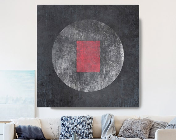 Geometry MOON 21, Moon Modern Art, Red Gray Black Moon Canvas Print, Black And White, Planet Wall Art, Space Art, Moon Phases Art