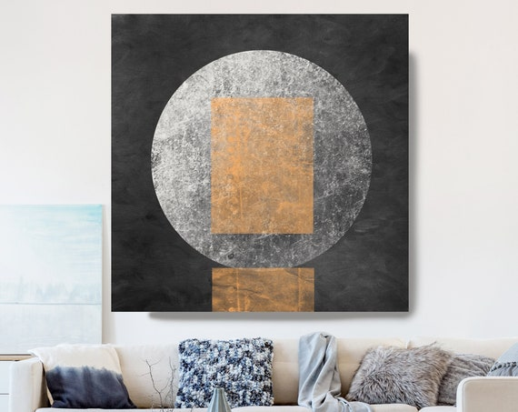 Geometry MYSTERY MOON 22, Moon Modern Art, Ochre Gray Black Moon Canvas Print, Black And White, Planet Wall Art, Space Art, Moon Phases Art