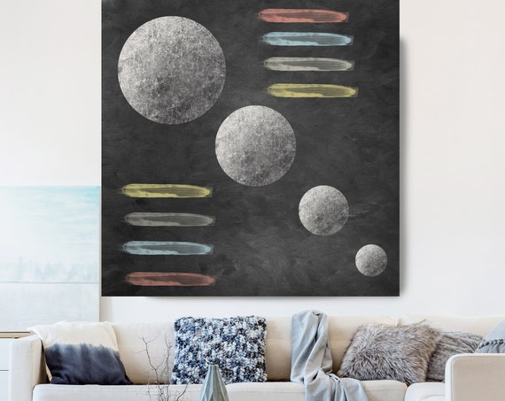 Moon Modern Art, Red Gray Black Moon Canvas Print, Black And Gray, Planet Wall Art, Space Art, Moon Phases Art, Moon Wall Art, Geometry