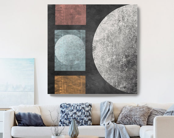 Geometry MOON 22, Moon Modern Art, Blue Ochre Gray Black Moon Canvas Print, Black And White, Planet Wall Art, Space Art, Moon Phases Art