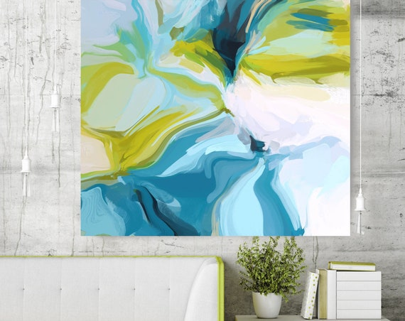 Clarity. Green Blue Abstract Painting / Abstract Painting Blue/ Modern Art / Contemporary Art / Flow Abstract Painting/ Green Canvas Print