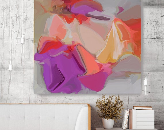 Heart-beat Abstract Purple Red Original Painting, Contemporary art, Abstract Yellow Purple, Abstract Painting Print
