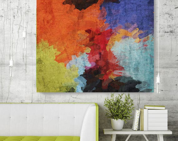"Kaleidoscope N 67-3. Abstract Paintings Art, Wall Decor Extra Large Abstract Red Blue Green Canvas Art Print up to 48"" by Irena Orlov"
