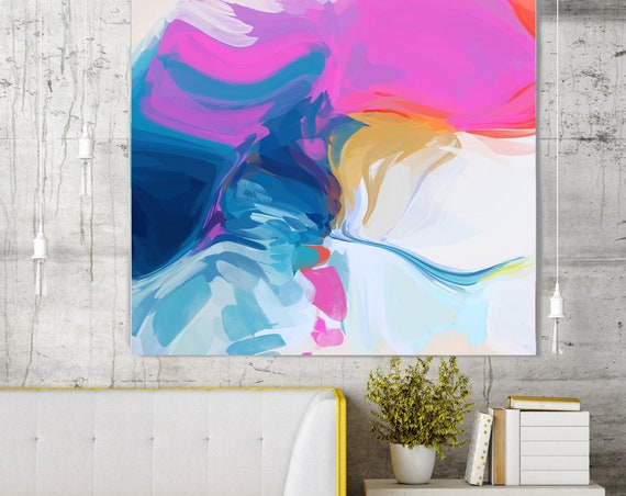 "Let's Go, Art Abstract Print on Canvas up to 50"", Blue Pink White Yellow Abstract Canvas Art Print by Irena Orlov"