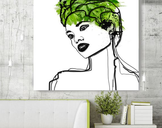 "Green Beauty. Figurative Green Contemporary Painting Canvas Print, Extra Large Canvas Art Print up to 48"" by Irena Orlov"