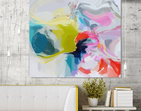 "Free Mind, Art Abstract Print on Canvas up to 50"", Green Red Blue Abstract Canvas Art Print by Irena Orlov"