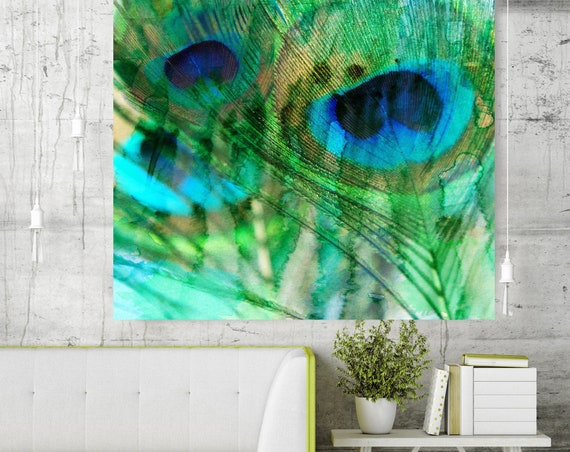 Peacock feather, Green Blue Peacock feather, Large Canvas Wall Art, Peacock feather watercolor painting, Peacock Canvas Print, Peacock